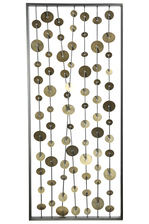 UTC31104 Metal Rectangle Wall Art of Golden Round Portrait Design Coated Finish Metallic Gray