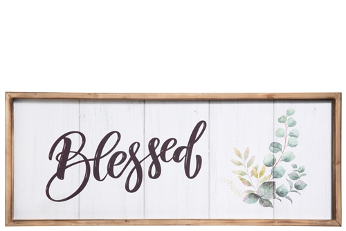 "UTC31111 Wood Rectangle Wall Decor with Frame, Printed ""Blessed"" Writing Distressed Finish White"