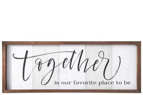 "UTC31112 Wood Rectangle Wall Decor with Frame, Printed ""Together"" Writing Distressed Finish White"