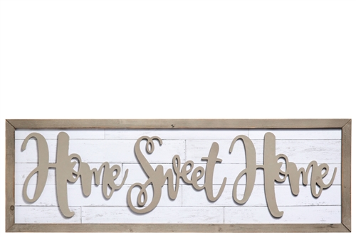 "UTC31120 Wood Rectangle Wall Decor with Frame and Embossed ""Home Sweet Home"" Writing Design Distressed Finish White"