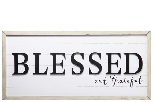 "UTC31121 Wood Rectangle Wall Decor with Frame and ""BLESSED and GRATEFUL"" Writing Design Distressed Finish White"