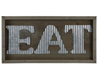 "UTC31309 Wood Rectangular Wall Sign with ""EAT"" in Metal Sheet Design Natural Wood Finish Brown"