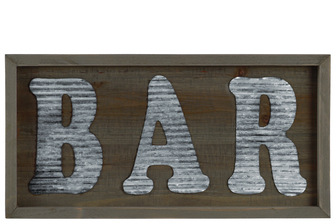 "UTC31310 Wood Rectangular Wall Sign with ""BAR"" in Metal Sheet Design Natural Wood Finish Brown"