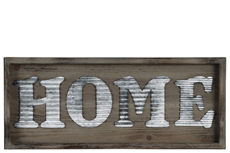 "UTC31311 Wood Rectangular Wall Sign with ""HOME"" in Metal Sheet Design Natural Wood Finish Brown"
