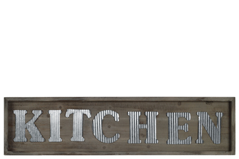 "UTC31312 Wood Rectangular Wall Sign with ""KITCHEN"" in Metal Sheet Design Natural Wood Finish Brown"
