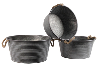 UTC31437 Metal Round Planter with Ribbed Design Body and Rope Side Handles Set of Three Galvanized Finish Gray