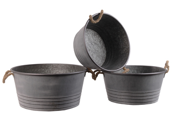 UTC31438 Metal Round Planter with Ribbed Banded Rim Bottom and Rope Side Handles Set of Three Galvanized Finish Gray
