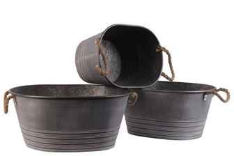 UTC31439 Metal Oval Planter with Ribbed Banded Rim Bottom and Rope Side Handles Set of Three Galvanized Finish Gray
