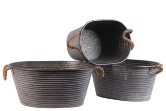 UTC31440 Metal Oval Planter with Ribbed Design Body and Rope Side Handles Set of Three Galvanized Finish Gray