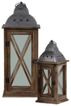 "UTC31444 Wood Lantern with Metal Finial Top, Ring Handle, and, ""X"" and Glass Design Body Set of Two Natural Finish Brown"