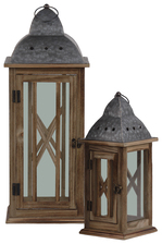 "UTC31446 Wood Square Lantern with Pierced Metal Finial Top, Ring Handle, and, ""X"" Inside Parallel Lines and Glass Design Body Set of Two Natural Finish Brown"