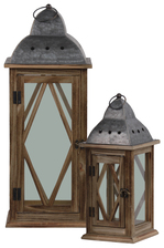 UTC31448 Wood Square Lantern with Pierced Metal Finial Top, Ring Handle, and, Diamond and Glass Design Body Set of Two Natural Finish Brown
