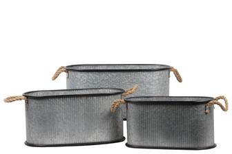UTC31449 Metal Round Bucket with Rope Side Handles, Black Rim and Down, and Combed Design Body Set of Three Galvanized Finish Gray