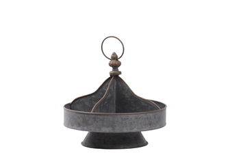 UTC31451 Metal Round Tray with Rust Effect Edges, 4 Slots and Ring Handle, and on a Round Base SM Galvanized Finish Gray