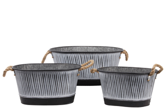 UTC31452 Metal Round Bucket with Side Rope Handles, Black Rim and Down, and Corrugated Design Body Set of Three Galvanized Finish Gray