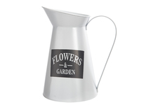 "UTC31458 Metal Round Pitcher with ""FLOWERS AND GARDEN"" Writing Coated Finish White"
