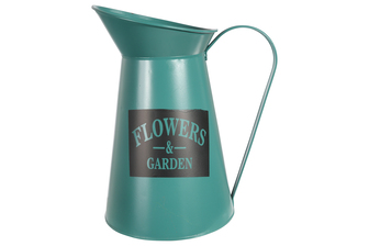 "UTC31459 Metal Round Pitcher with ""FLOWERS AND GARDEN"" Writing Coated Finish Green"