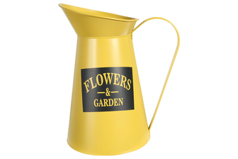 "UTC31460 Metal Round Pitcher with ""FLOWERS AND GARDEN"" Writing Coated Finish Yellow"