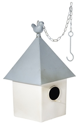 UTC31467 Metal Square Bird House with Blue Metal Top and Hook Chain Hanger Painted Finish Beige