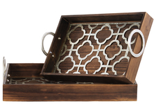 UTC31513 Wood Nesting Tray with Metal 2 Handles and Quatrefoil Latice Surface Set of Two Natural Finish Brown