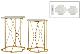 UTC31514 Metal Nesting Table with Wood Top Set of Two Coated Finish Gold