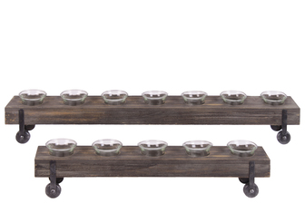 UTC31517 Wood Rectangular Candle Holders with Glass Cups Set of Two Coated Wood Finish Dark Brown