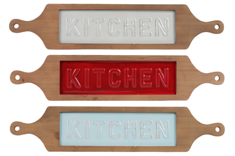 "UTC31518-AST Metal Rectangular Wall Art with ""Kitchen"" Label, Wood Frame and Side Hole Handles Assortment of Three Assorted Color Painted Finish (Light Cyan, Red, and White)"