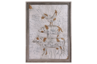UTC31521 Metal Rectangular Wall Art with Embossed Cow Chicken Pig Design Painted Finish (Brown, Gray, and White)