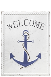 "UTC31523 Metal Rectangle Wall Decor with ""Welcome on Anchor"" and Embossed Rope Side Design Distressed Finish White"