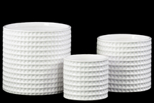 UTC31800 Ceramic Round Flower Pot Set of Three Dimpled Gloss Finish White
