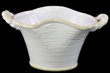 UTC31808 Ceramic Stadium Shaped Tapered Tuscan Pot with Handles LG Distressed Gloss Finish White