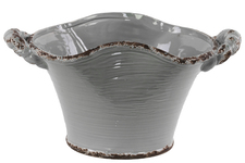 UTC31809 Ceramic Stadium Shaped Tapered Tuscan Pot with Handles LG Distressed Gloss Finish Gray