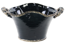 UTC31810 Ceramic Stadium Shaped Tapered Tuscan Pot with Handles LG Distressed Gloss Finish Midnight Blue