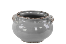 UTC31812 Ceramic Wide Round Bellied Tuscan Pot with Handles SM Distressed Gloss Finish Gray