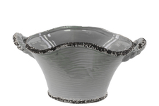 UTC31815 Ceramic Stadium Shaped Tapered Tuscan Pot with Handles SM Distressed Gloss Finish Gray