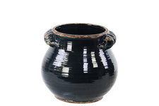 UTC31819 Ceramic Tall Round Bellied Tuscan Pot with Handles SM Distressed Gloss Finish Midnight Blue