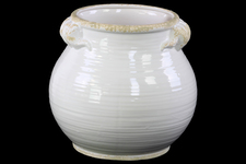 UTC31820 Ceramic Tall Round Bellied Tuscan Pot with Distressed Side Handles and Rim Mouth Design LG Gloss Finish White