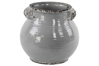 UTC31821 Ceramic Tall Round Bellied Tuscan Pot with Distressed Side Handles and Rim Mouth Design LG Gloss Finish Gray