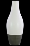 UTC31835 Ceramic Round Bellied Vase with Small Mouth, Long Neck and Tapered Bottom on Gray Banded Rim Base LG Matte Finish White