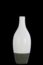 UTC31836 Ceramic Round Bellied Vase with Small Mouth, Long Neck and Tapered Bottom on Gray Banded Rim Base SM Matte Finish White