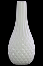 UTC31843 Ceramic Bellied Round Vase with Elongated Engraved Parallel Lines Design Neck, Engraved Diamond Design Body and Tapered Bottom Matte Finish White