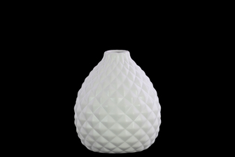 UTC31845 Ceramic Bellied Round Vase with Small Mouth, Short Neck, Engraved Diamond Design Body and Tapered Bottom Matte Finish White