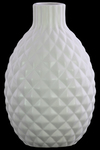 UTC31846 Ceramic Bellied Round Vase with Short Engraved Parallel Lines Design Neck, Engraved Diamond Design Body and Tapered Bottom Matte Finish White