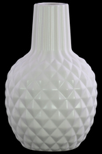 UTC31849 Ceramic Bellied Round Vase with Long Engraved Parallel Lines Design Neck, Engraved Diamond Design Body and Tapered Bottom Matte Finish White