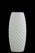 UTC31851 Ceramic Round Vase with Wide Mouth, Engraved Diamond Design Body and Tapered Bottom Matte Finish White