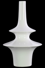 UTC31867 Ceramic Bellied Round Vase with Small Mouth, Long Neck and 2 Tier Design Body LG Gloss Finish White