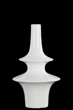 UTC31868 Ceramic Bellied Round Vase with Small Mouth, Long Neck and 2 Tier Design Body SM Gloss Finish White