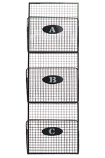 UTC32112 Metal Mail Organizer Mesh Design with 3 Lettered Tiers SM Gray