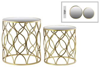 UTC32130 Metal Round Nesting Accent Table with Mirror Top, Intersecting Wave Design and Round Base Set of Two Metallic Finish Gold