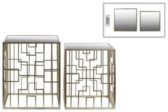 UTC32148 Metal Square Nesting Accent Table with Mirror Top and Square Base Set of Two Metallic FInish Silver
